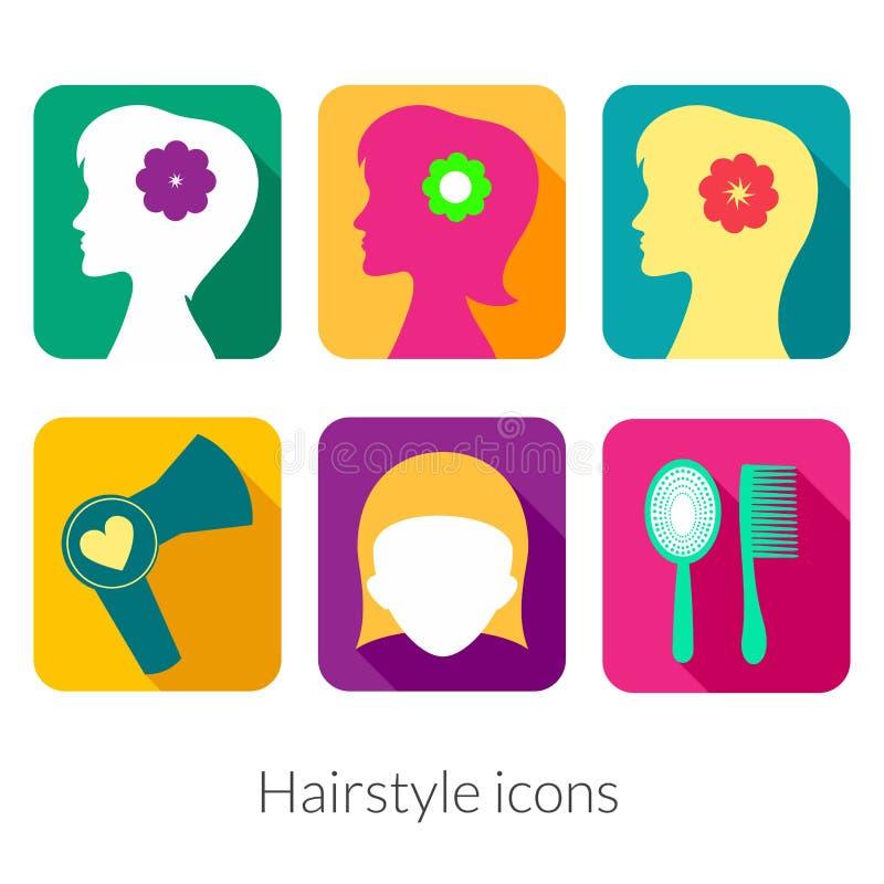 Iconos rectangulares del peinado con las esquinas redondeadas stock de ilustración