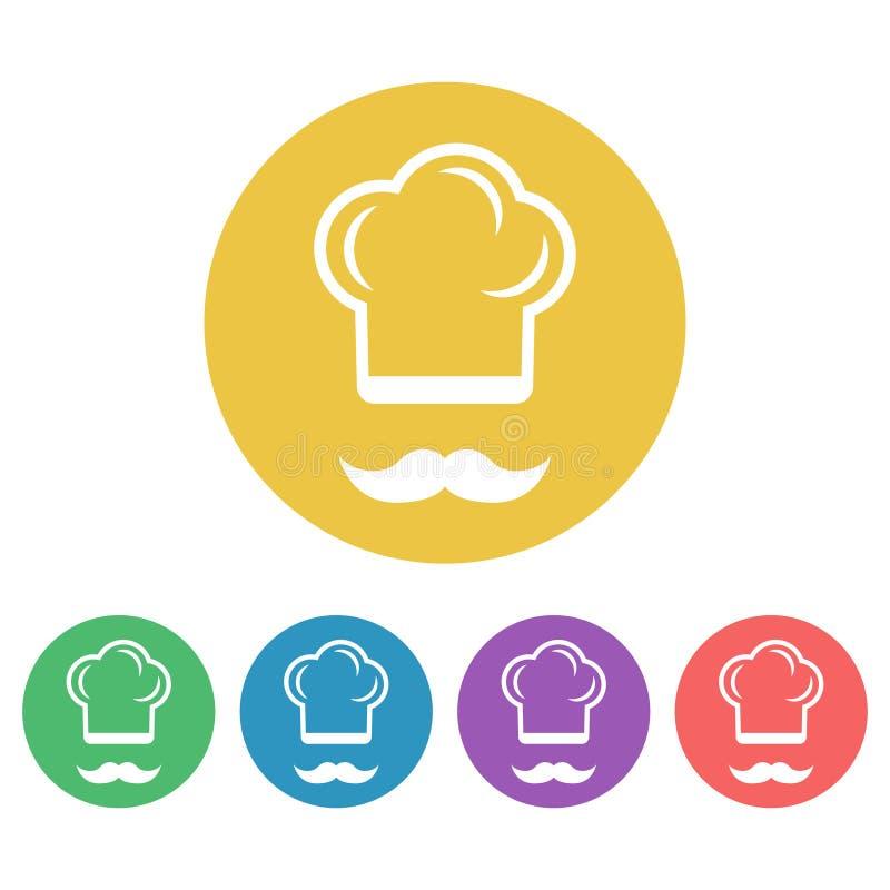 Iconos redondos coloreados vector del estilo plano del cocinero stock de ilustración