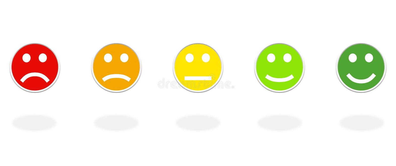 5 iconos redondos de la reacci?n con 5 colores ilustración del vector