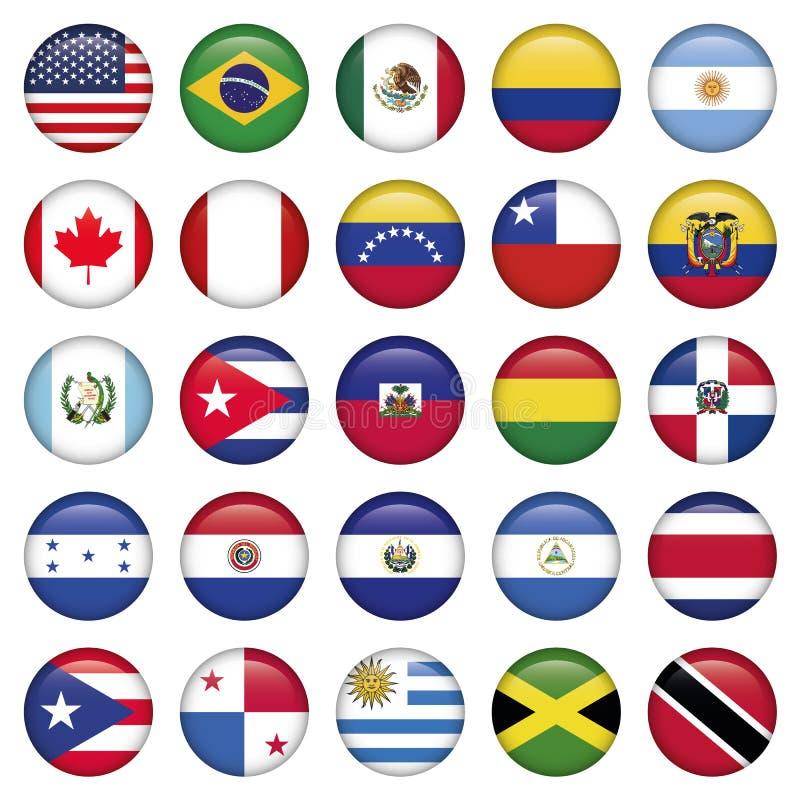 Iconos redondos de las banderas americanas ilustración del vector