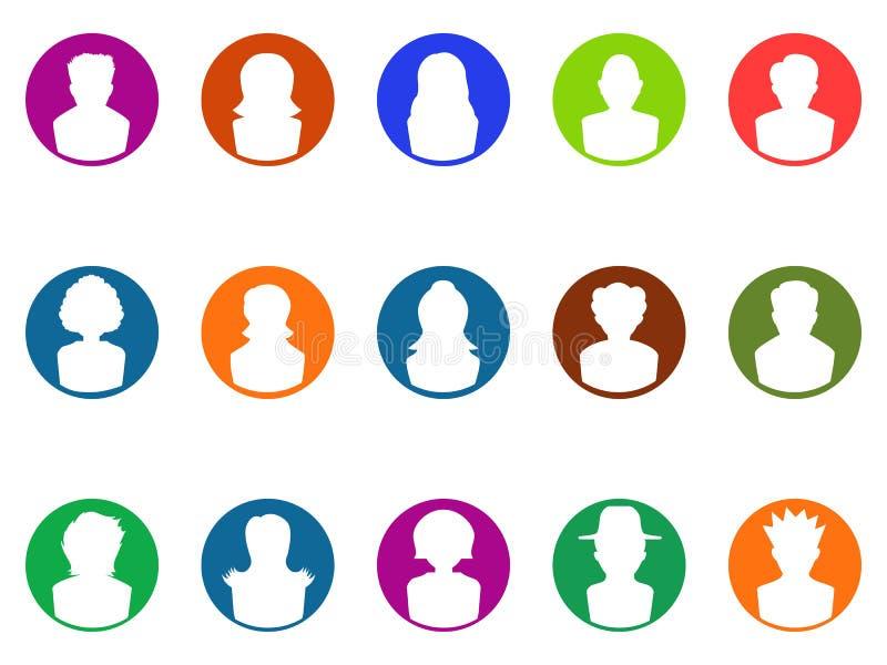Iconos redondos del avatar del botón libre illustration