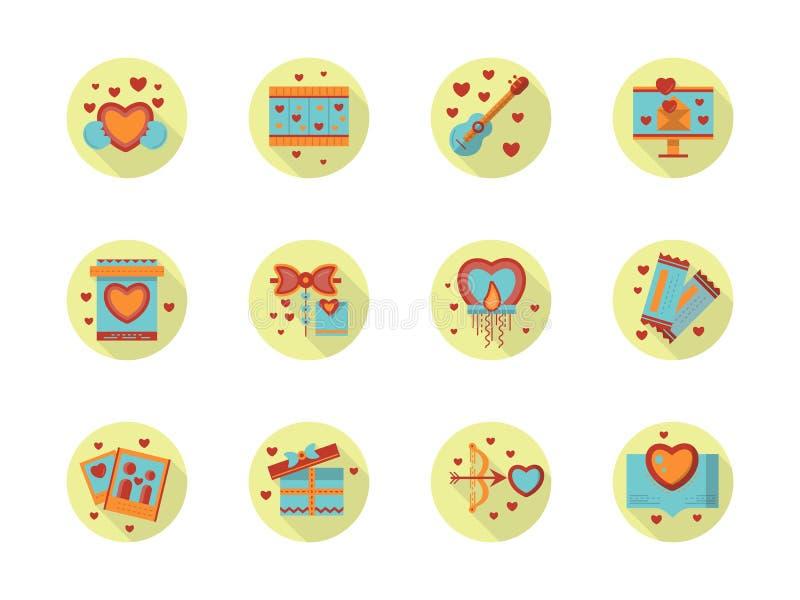 Iconos redondos del color plano romántico del evento stock de ilustración