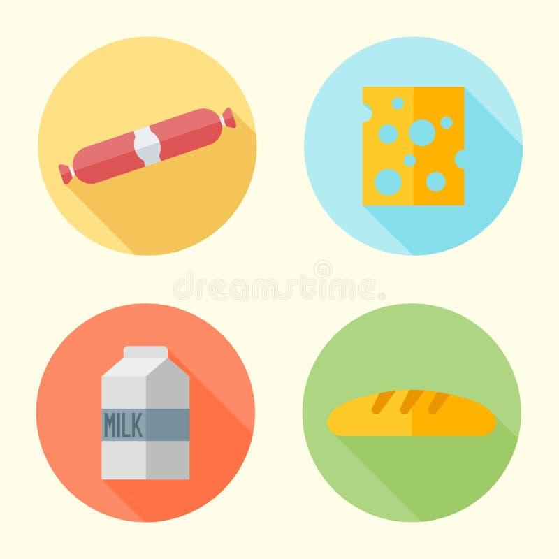 Iconos redondos del diseño plano de la comida con la sombra larga ilustración del vector