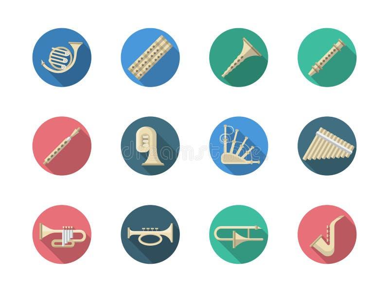Iconos redondos del instrumento de viento de madera y de los instrumentos de cobre libre illustration