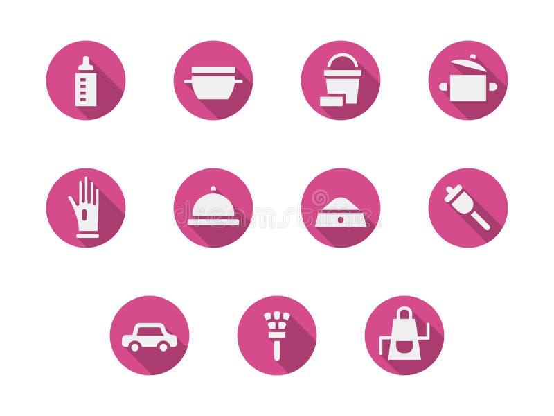 Iconos redondos del rosa de las tareas de hogar fijados libre illustration