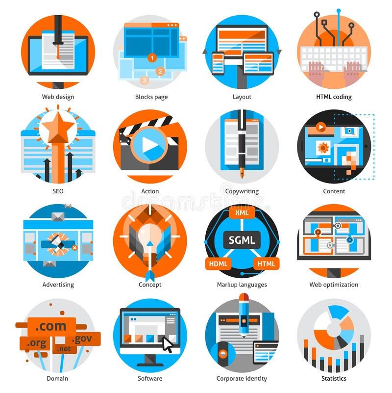 Iconos redondos del trabajo en línea creativo fijados stock de ilustración