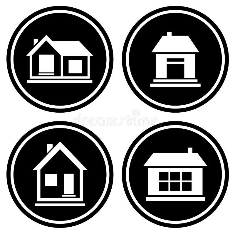 Iconos redondos determinados con la casa ilustración del vector