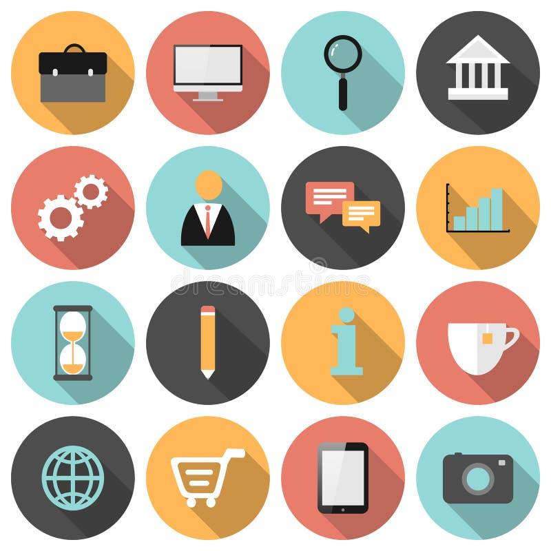 Iconos redondos planos del web del negocio y del márketing fijados stock de ilustración