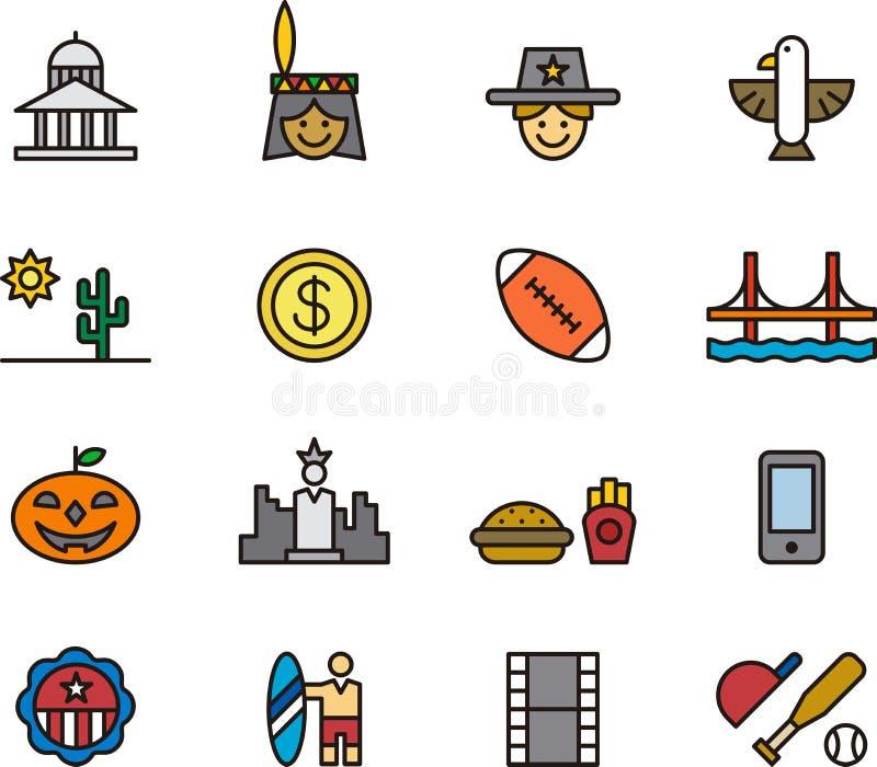 Iconos relacionados con América libre illustration
