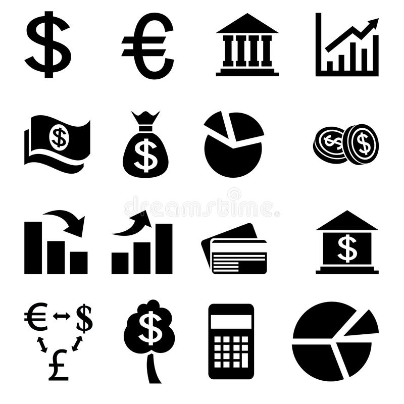 Iconos relacionados con el mercado de la moneda ilustración del vector