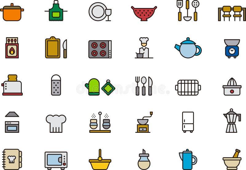 Iconos relacionados con la cocina ilustración del vector