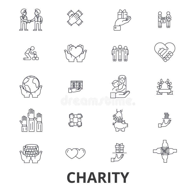 Iconos relacionados de la caridad stock de ilustración