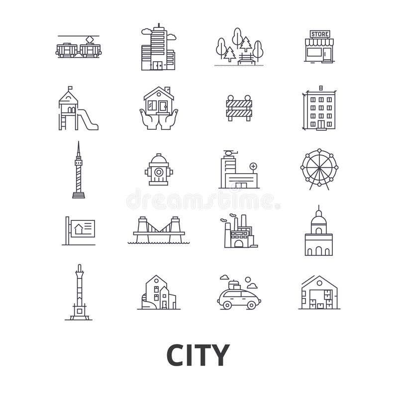 Iconos relacionados de la ciudad libre illustration