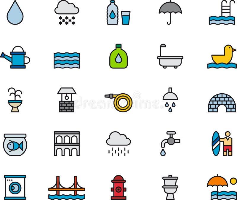 Iconos relacionados del agua stock de ilustración