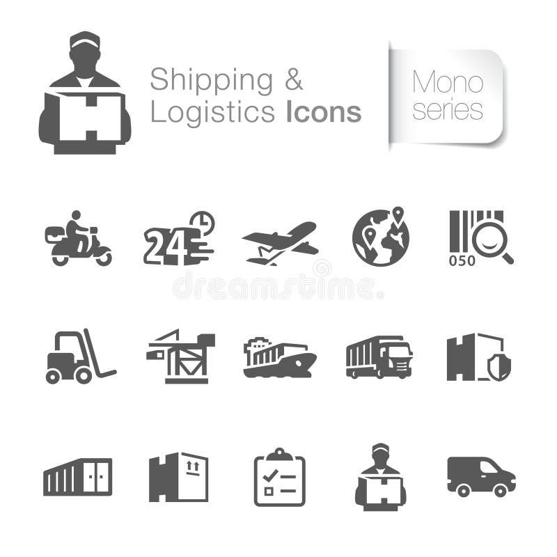 Iconos relacionados del envío y de la logística libre illustration