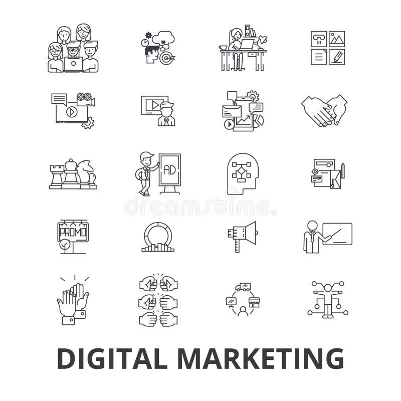 Iconos relacionados del márketing de Digitaces ilustración del vector
