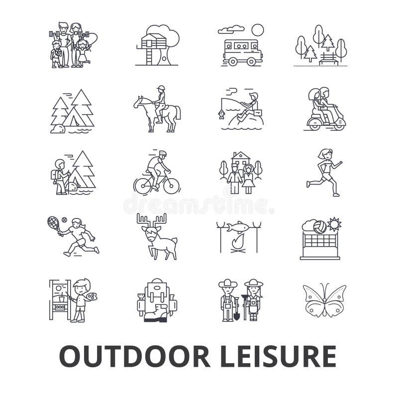 Iconos relacionados del ocio al aire libre stock de ilustración