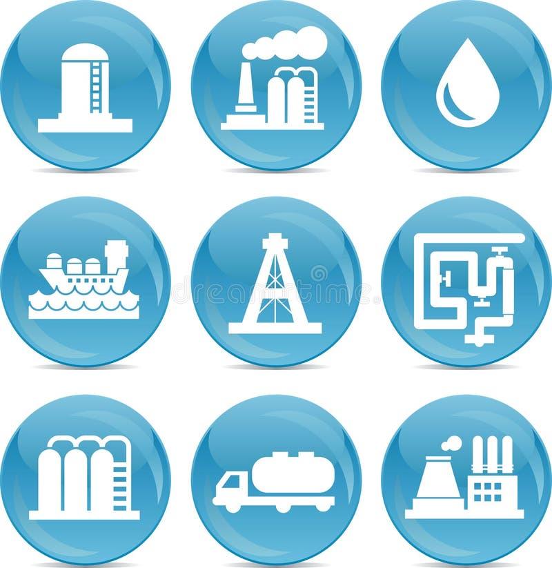 Iconos relacionados del petróleo y gas stock de ilustración