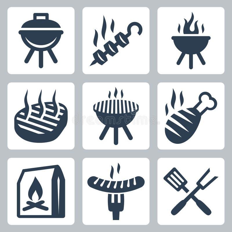 Iconos relacionados del vector de la parrilla y de la barbacoa libre illustration