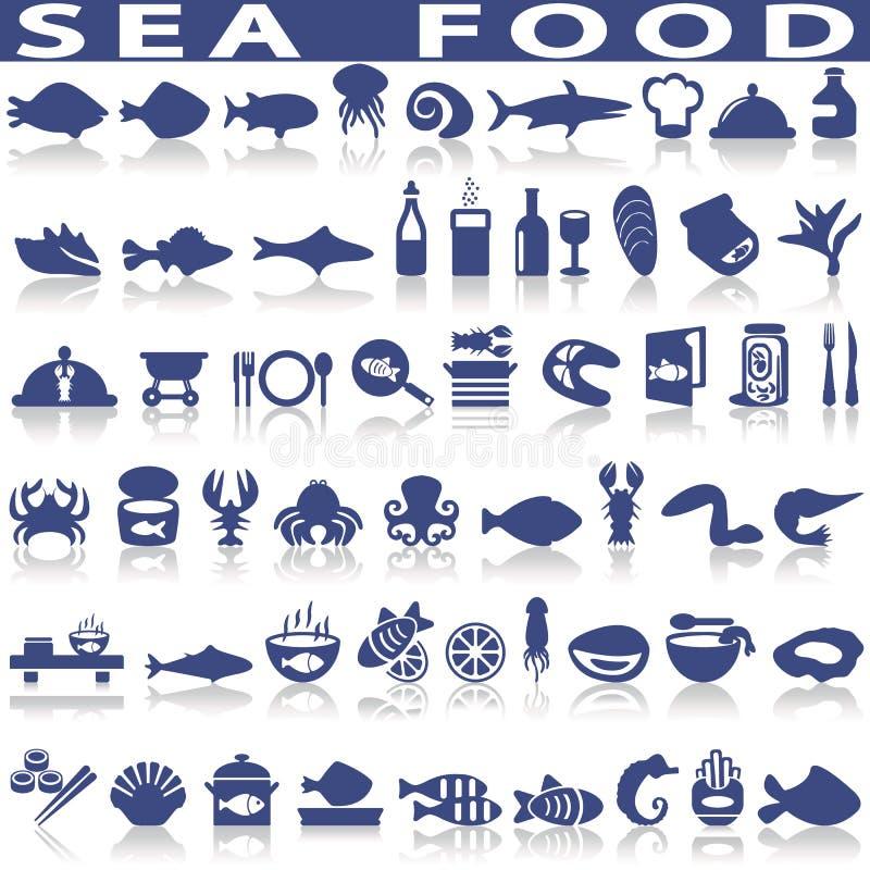 Iconos relacionados del vector del marisco libre illustration