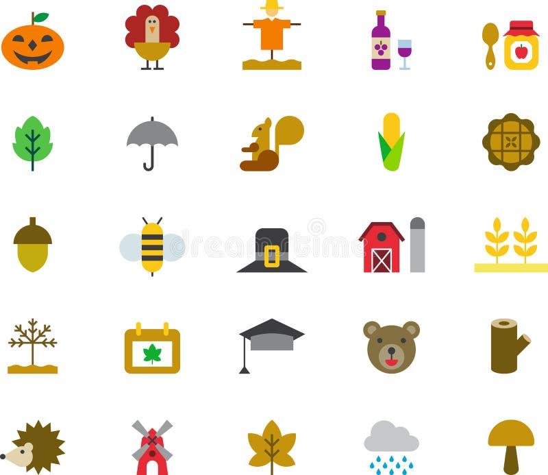 Iconos relacionados del web del otoño ilustración del vector