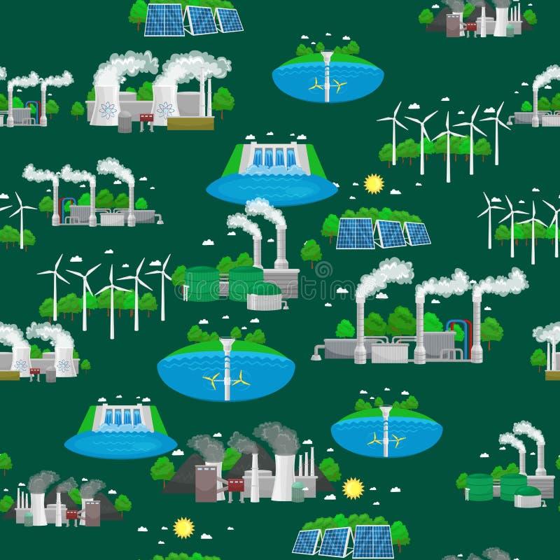 Iconos renovables de la energía de la ecología, concepto alternativo de los recursos del poder verde de la ciudad, tecnología de  ilustración del vector