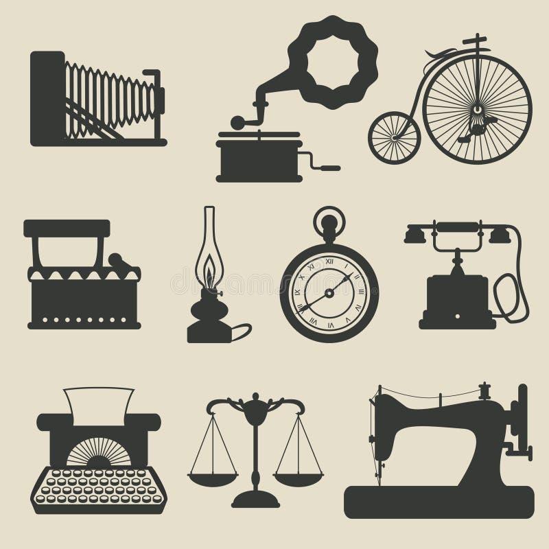 Iconos retros stock de ilustración