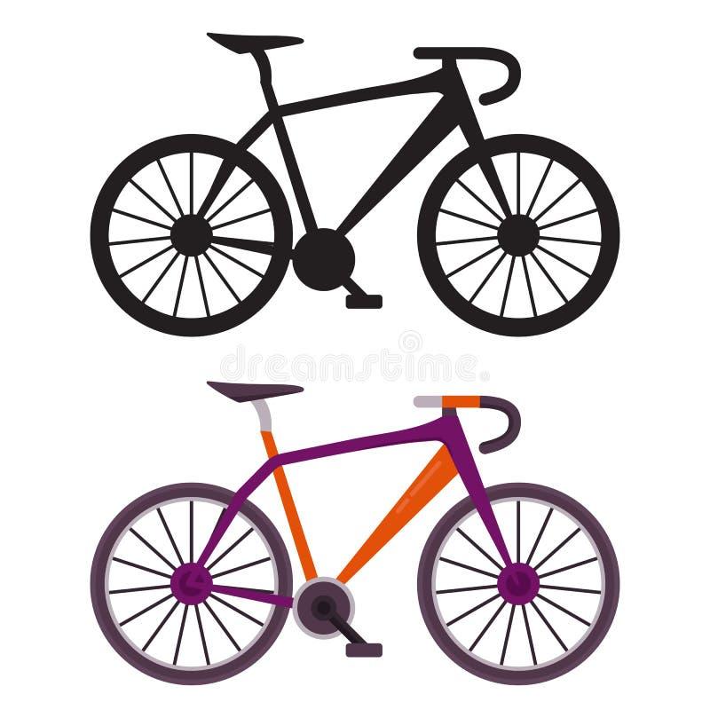Iconos retros de la bici de la ciudad stock de ilustración