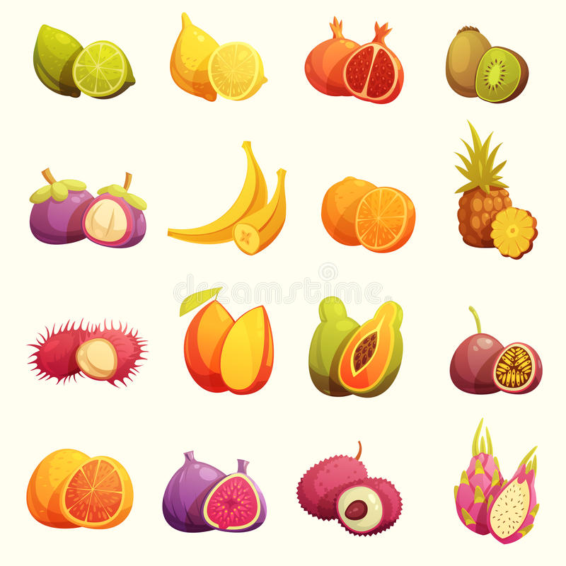 Iconos retros de la historieta de las frutas tropicales fijados stock de ilustración