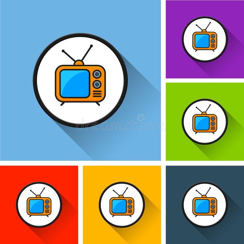 Iconos retros de la TV con la sombra larga ilustración del vector