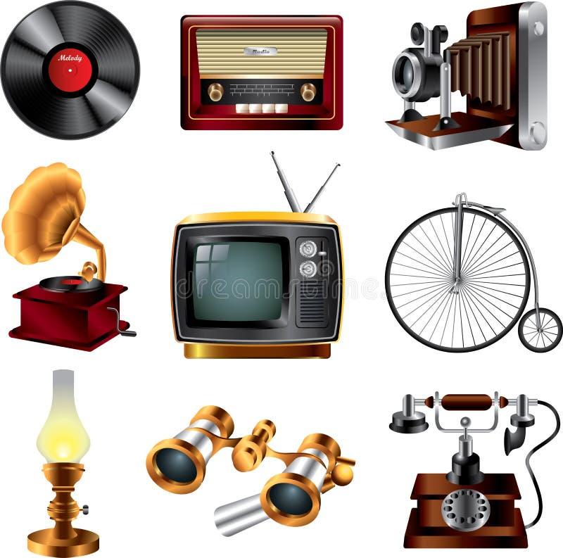 Iconos retros de los objetos ilustración del vector