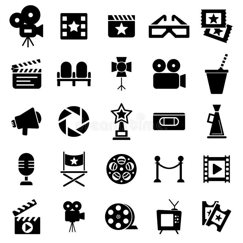 Iconos retros del cine fijados stock de ilustración