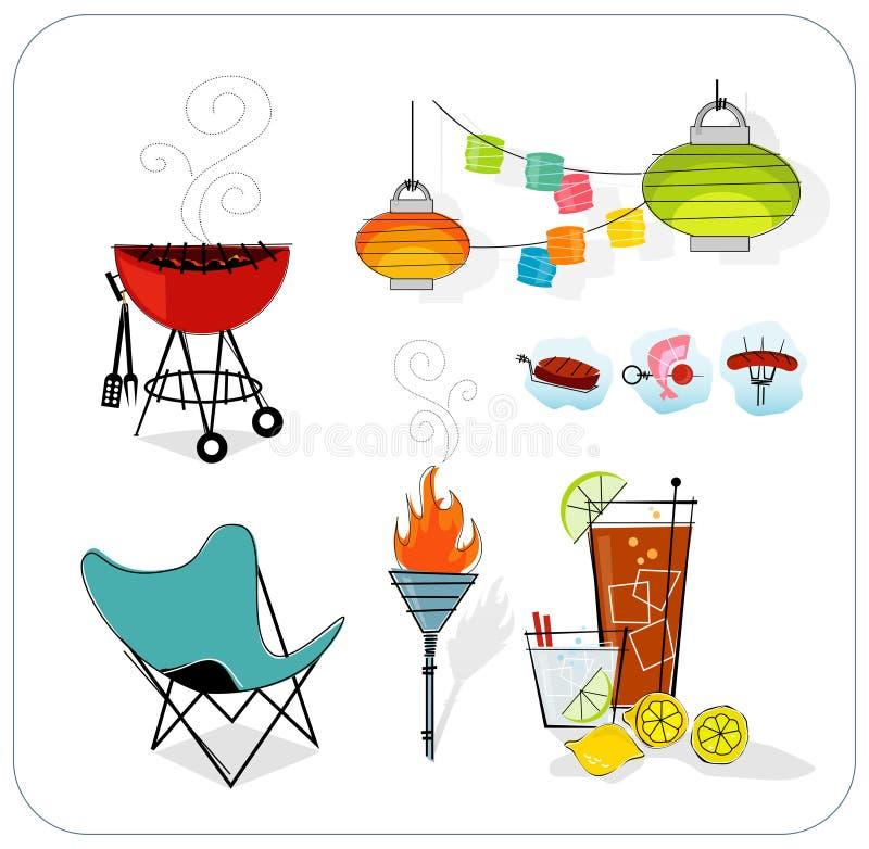 Iconos retros del verano (vector) stock de ilustración
