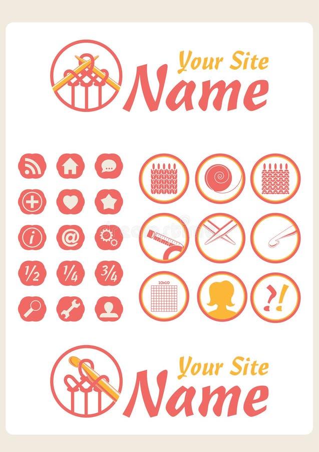 Iconos retros del Web del Knit de la vendimia ilustración del vector