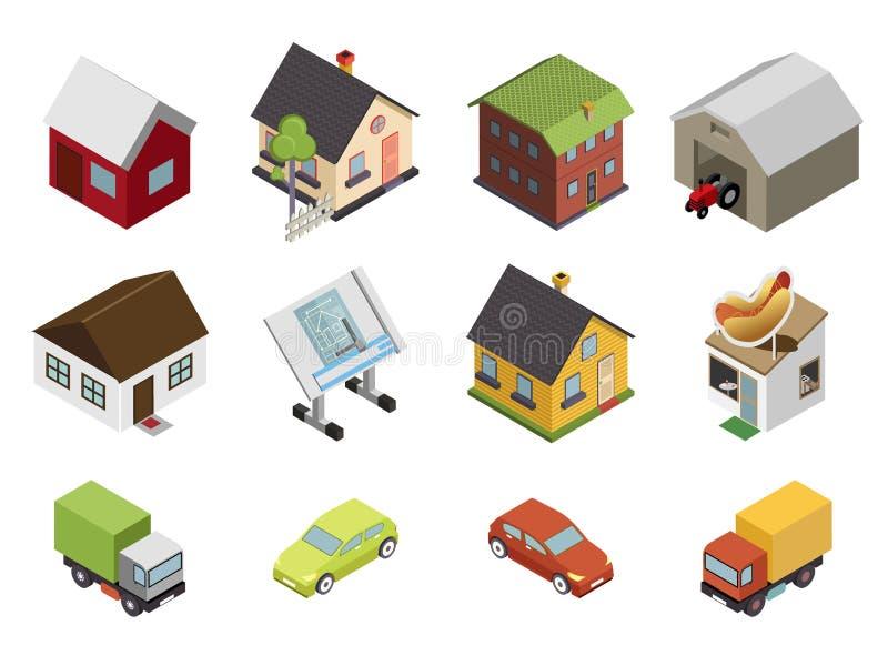 Iconos retros isométricos de Real Estate de la casa de los coches planos ilustración del vector