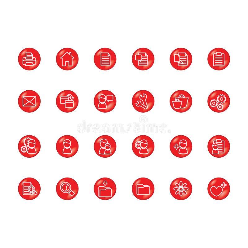 Iconos rojos ilustración del vector