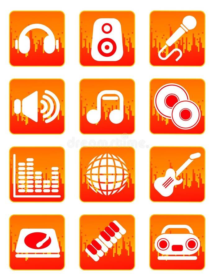Iconos rojos de la música y de los sonidos ilustración del vector