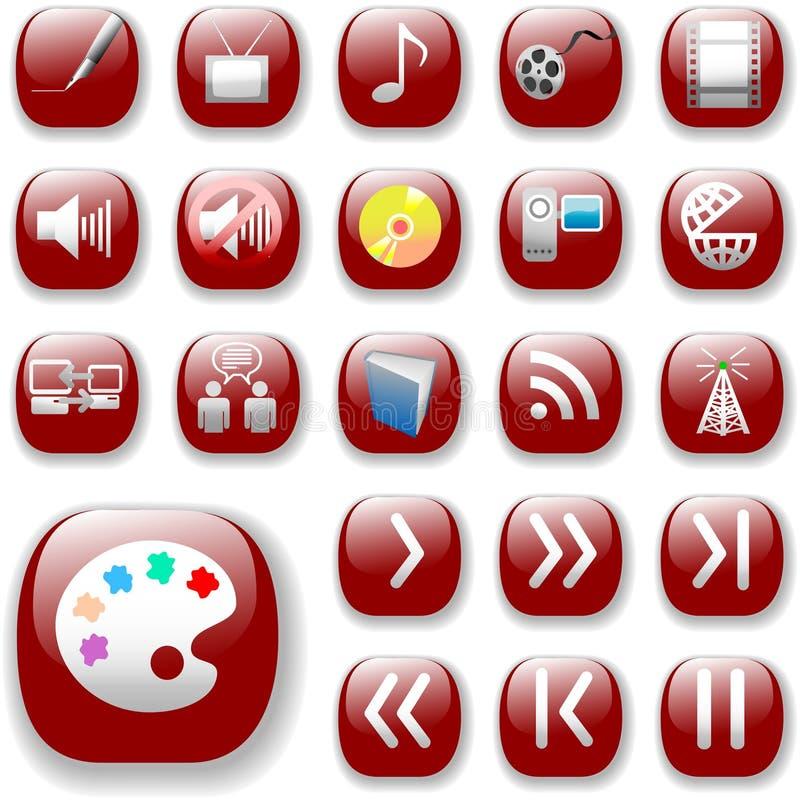 Iconos rojos de rubíes, media de Digitaces ilustración del vector