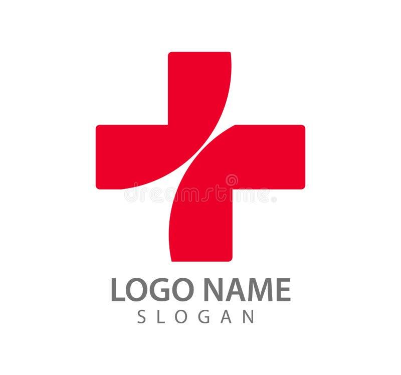Iconos rojos del vector del logotipo del hospital, doctor, gráfico stock de ilustración