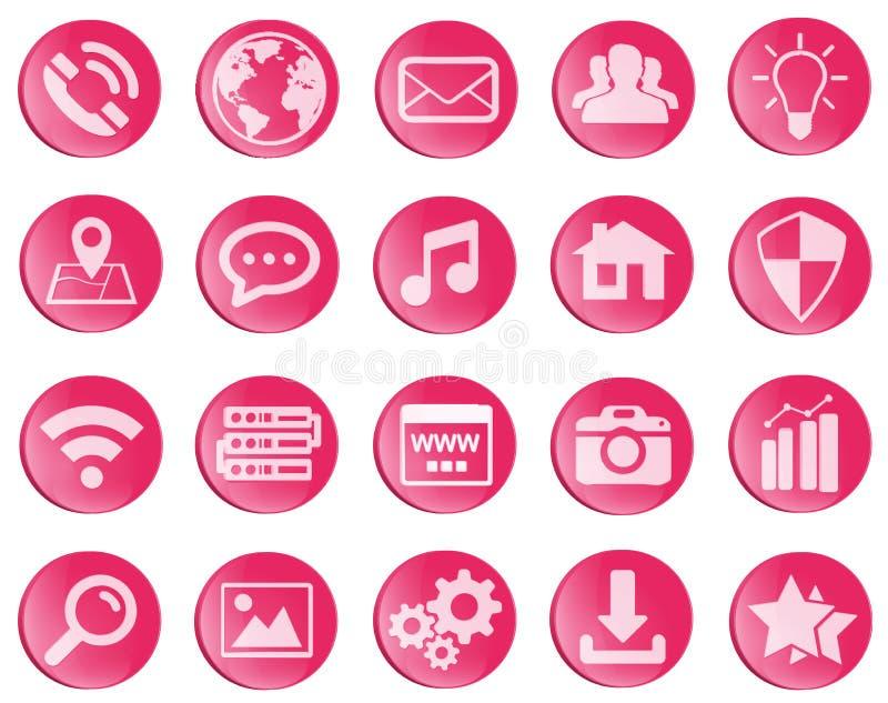 Iconos rojos del web fijados stock de ilustración