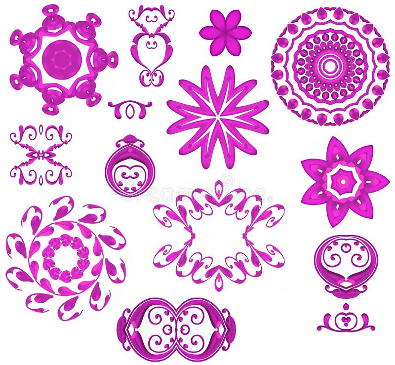 Iconos rosados decorativos del Web imágenes de archivo libres de regalías