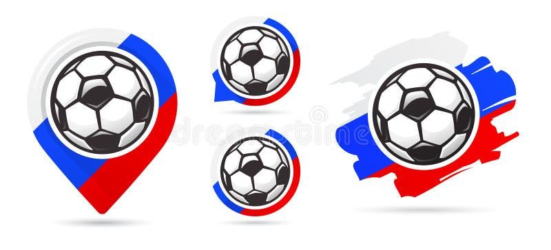 Iconos rusos del vector del fútbol Meta del fútbol Sistema de iconos del fútbol Indicador del mapa del fútbol Requisito del balom libre illustration