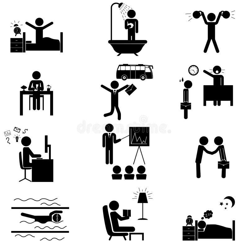 Iconos rutinarios de la vida de la oficina stock de ilustración
