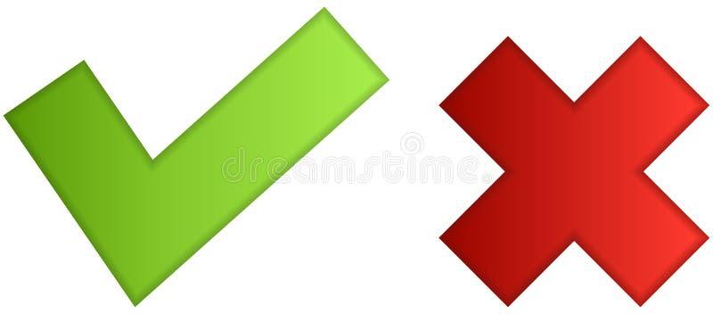 Iconos sí ningunos de los botones verde simple y rojo stock de ilustración