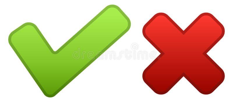 Iconos sí ningunos de los botones verde simple y rojo ilustración del vector