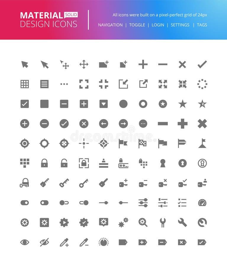 Iconos sólidos del diseño material fijados stock de ilustración