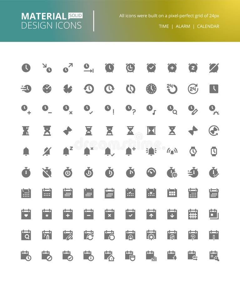Iconos sólidos del diseño material fijados ilustración del vector