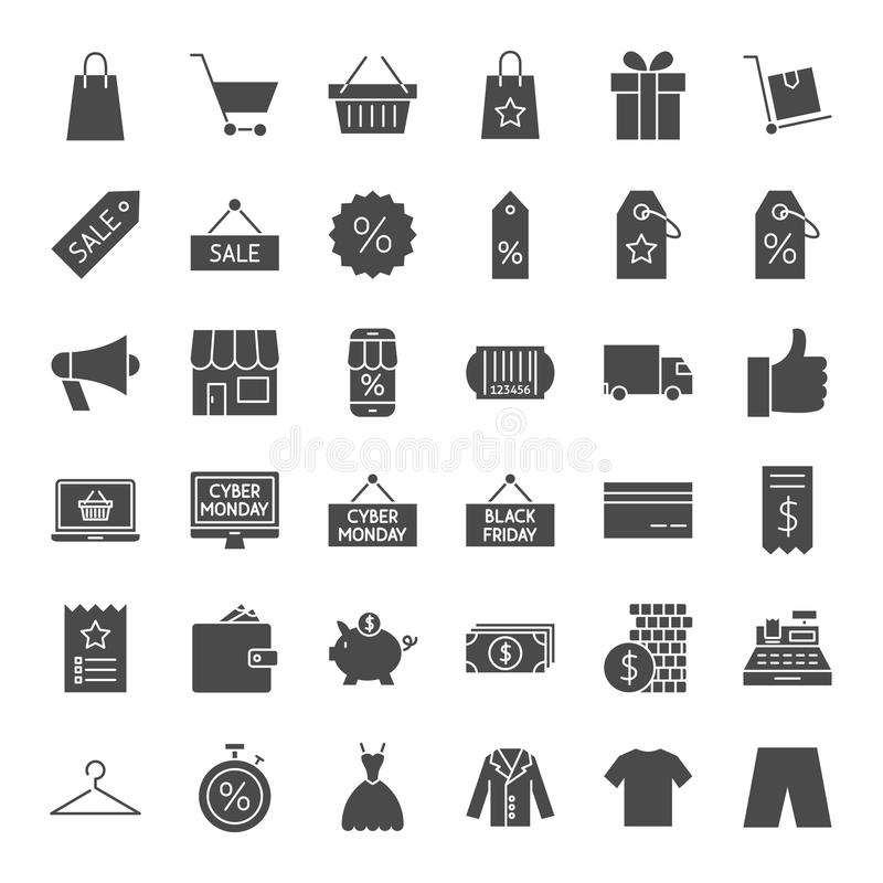 Iconos sólidos del web de Black Friday ilustración del vector