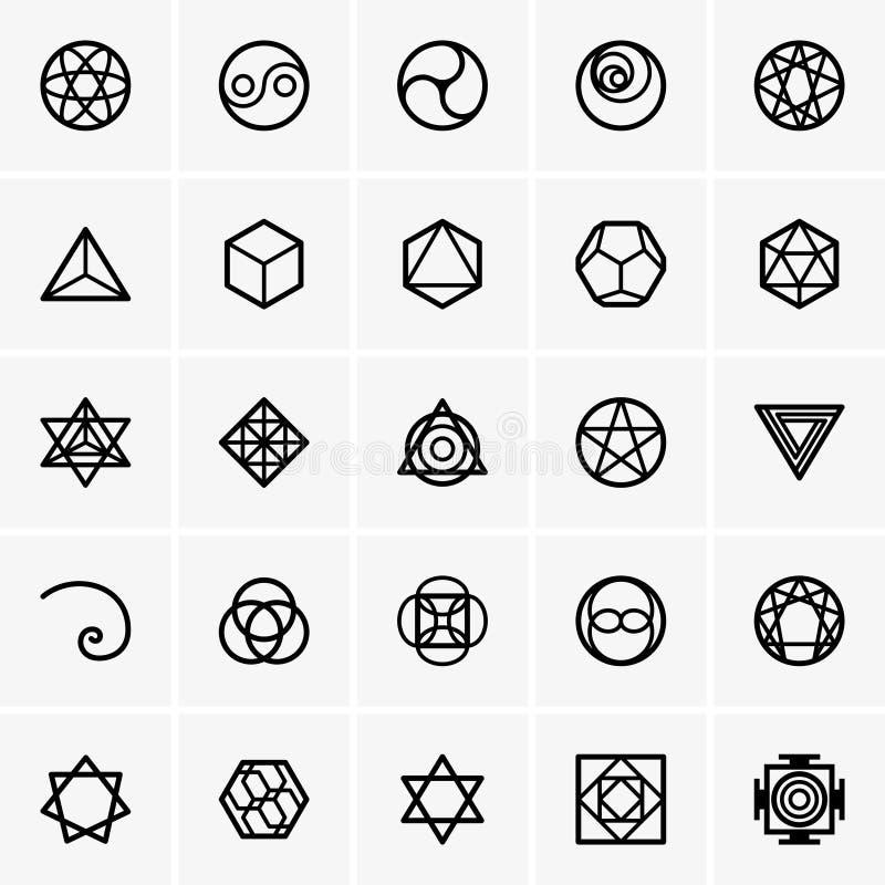 Iconos sagrados de la geometría ilustración del vector