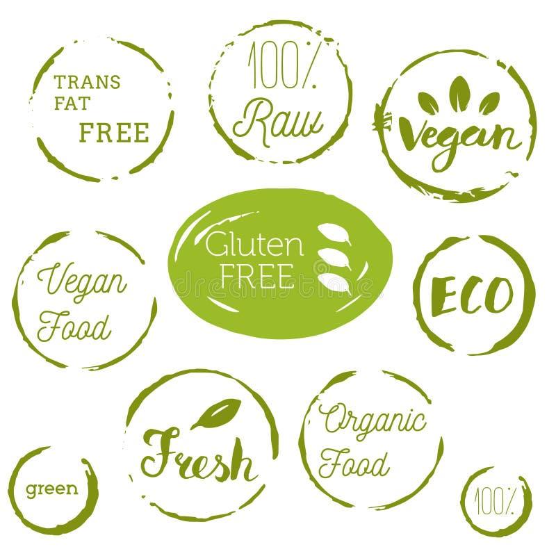 Iconos sanos de la comida, etiquetas Etiquetas orgánicas Elemen del producto natural stock de ilustración